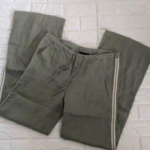 Athleta 100% linen sage side stripe trousers